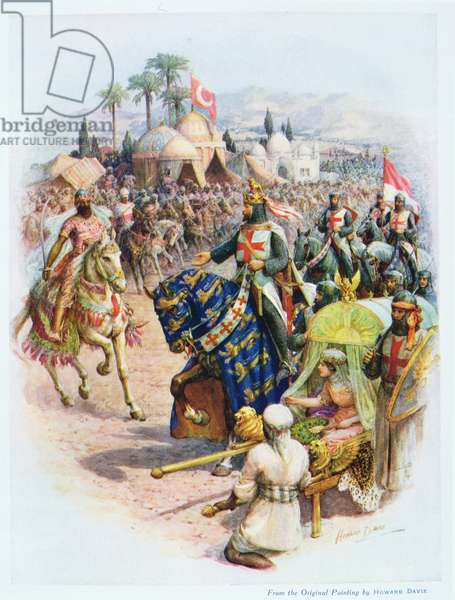 The Meeting of Richard Coeur de Lion and Saladin, illustration from 'Stories of Royal Children from English History', by Doris Ashley, published by Raphael Tuck, 1920 (colour litho)