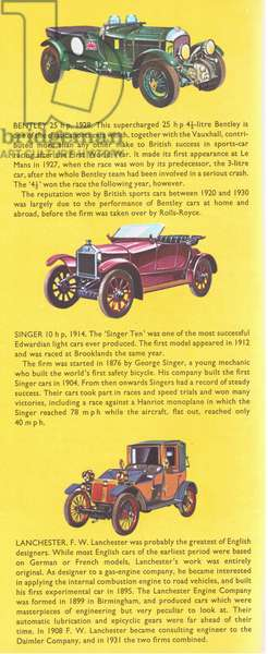 British veteran and vintage cars: Bentley 1928; Singer 1914; Lanchester 1908, from Knowledge Magazine, 1963 (colour litho)