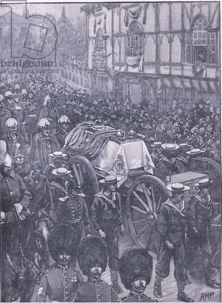 The Queen's funeral, the last stage, illustration from'Cassells History of England', 1900's (litho)
