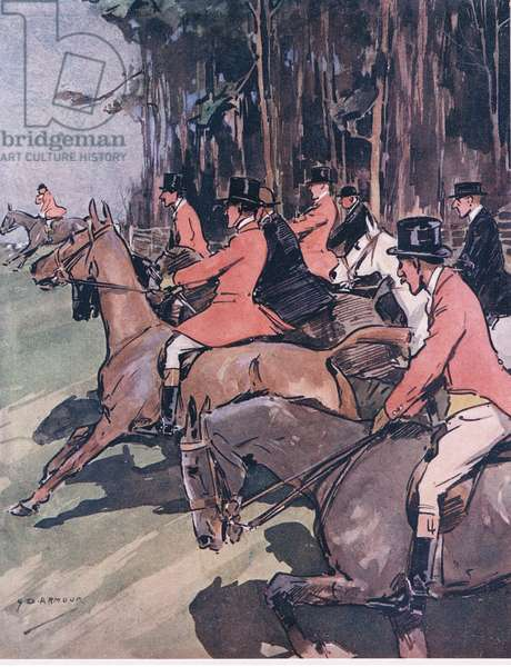Tighten your reins, 'arden your 'earts, and with elbow and legs, get forward to the 'ounds, from Mr Jorrocks' Lectors published by Hodder & Stoughton, 1910 (colour litho)