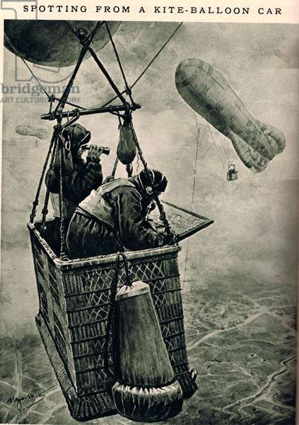 Spotting from a Kite-Balloon Car, illustration from 'Newnes' Pictorial Book of Knowledge' (litho)