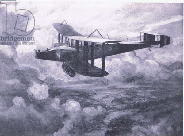 A Handley-Page aeroplane bombing Nablus by night, 1918, from British Adventure published by Collins, 1947 (litho)
