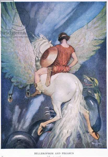 Bellerophon and Pegasus, c.1920 (colour litho)