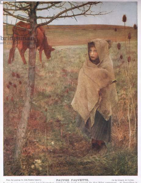 France, small; girl; Fauvette; cow; rural; poor; clothing