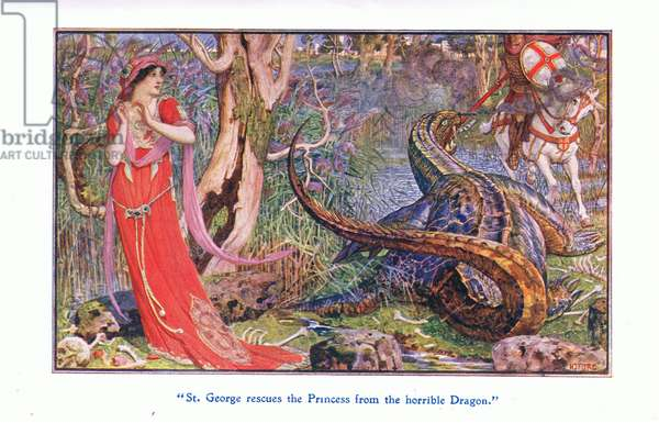 St George rescues the princess from the horrible dragon, 1912 (colour litho)