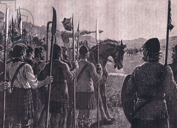 Bannockburn: Bruce reviewing his troops before the battle (litho)