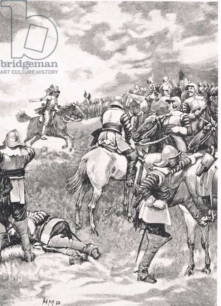 Charles I at the Battle of Naseby, 14th June 1645, illustration from 'British Battles on Land and Sea', published by Cassell, London, c.1910 (litho)