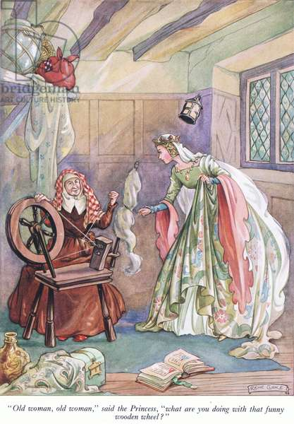 """""""Old woman, old woman,"""" said the Princess, """"What are you doing with that funny wooden wheel?""""  (colour litho)"""