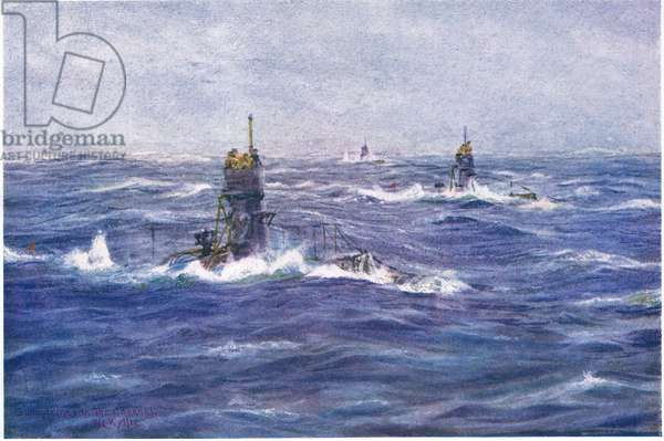 Submarines in the Channel, 1915 (colour litho)