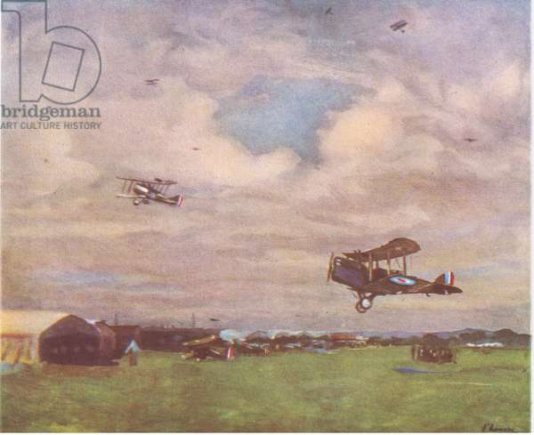 An aerodrome in, 1918, from British Adventure published by Collins, 1947 (colour litho)