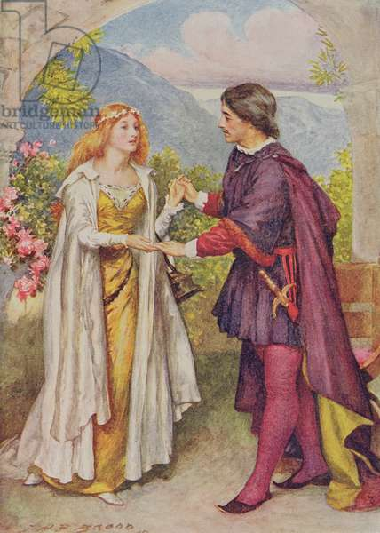 Hamlet and Ophelia from 'Children's Stories from Shakespeare' by Edith Nesbit (1858-1924) pub. by Raphael Tuck & Sons Ltd., London (book illustration)