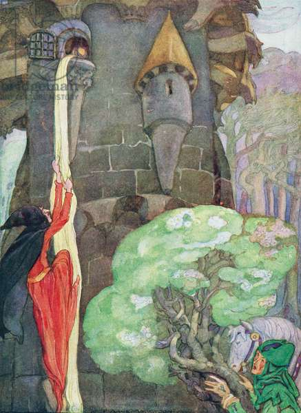 Illustration from 'Rapunzel' by the Brothers Grimm (colour litho)