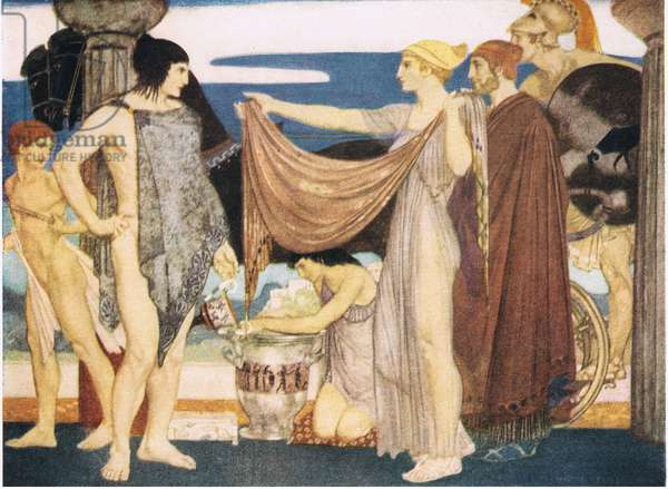 And Helen came up, beautiful Helen, with the robe in her hands and spake and hailed him