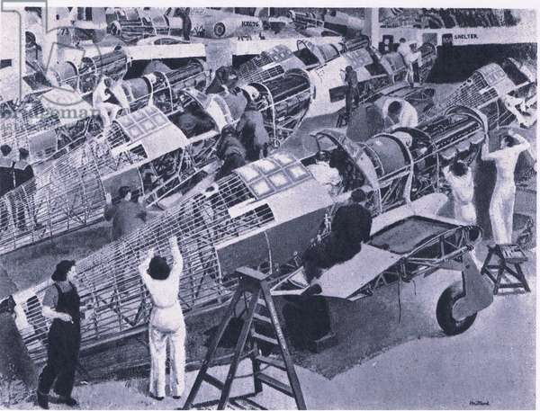 Assembling a Hawker-Hurricane, from British Adventure published by Collins, 1947 (litho)