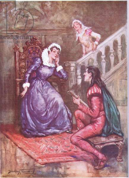 The musician who won a queen's favour. Mary Queen of Scots and David Rizzio (colour litho)