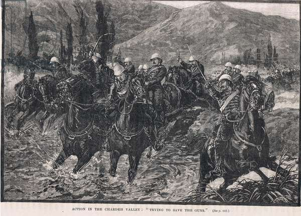 Action in the Chardeh Valley: 'Trying to save the guns', illustration from Cassell's 'Illustrated History of England', published c.1910 (litho)