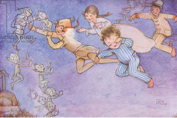 """""""They don't want us to land"""", illustration from'J M Barrie's Peter Pan and Wendy', 1951 (colour litho)"""