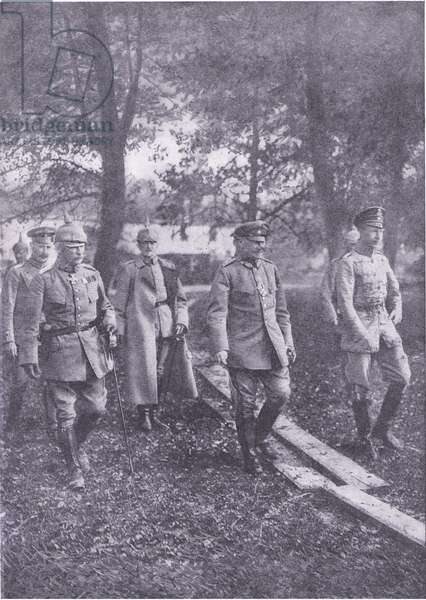 German Crown Prince an dhis staff near Verdun, from History of the Great War Vol 3 published by Waverley Book Co Limited, c.1920 (b/w photo)