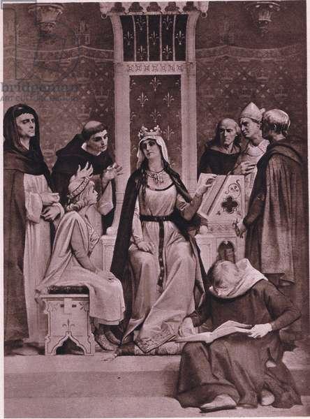 Blanche de Castille faithfully doing her duty as regent to Louis IX (litho)