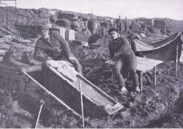 "The war of the ""dug outs"": behind a British trench, from History of the Great War Vol 3 published by Waverley Book Co Limited, c.1920 (b/w photo)"