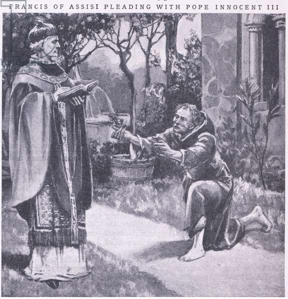 Francis of Assissi pleading with Pope Innocent III (litho)