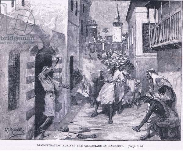 Demonstrations against Christians in Damascus 1860 AD (litho)