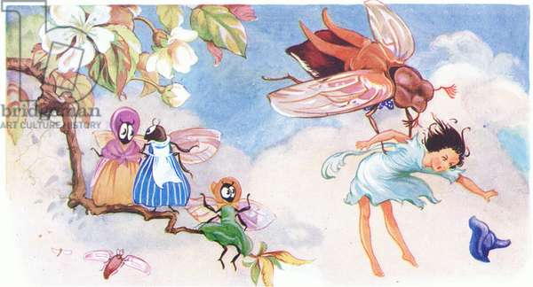 How terrified poor little Thumbalina was when the cockchafer carried her up the tree, from Tiny Thumbalina published by Edmund Ward, c.1940 (colour litho)