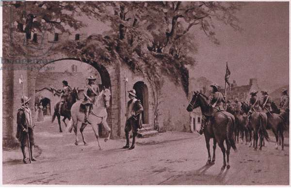 Charles I mounted on a white charger leaving the Priory, Brecon 1645 AD (litho)