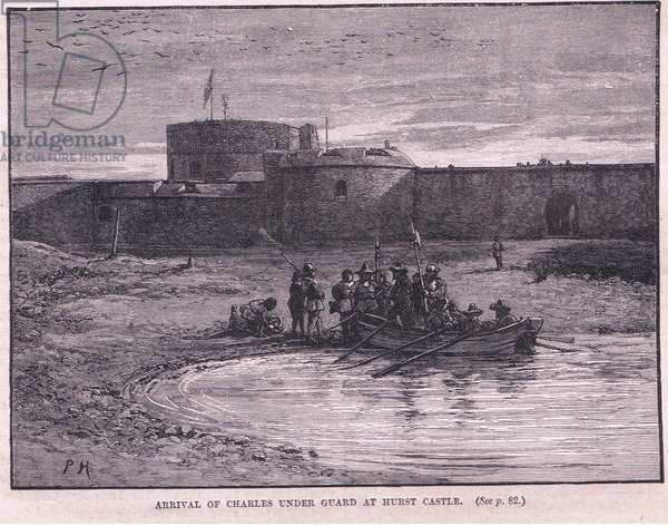 Arrival of Charles I under guard at Hurst Castle AD 1648 (litho)
