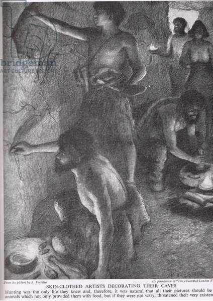 Skin-clothed artists decorating their caves, illustration from 'The Story of the British People', c.1950 (litho)