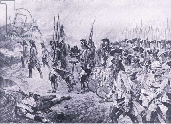 Blenheim, 13th August 1704: Storming of the village, illustration from 'British Battles on Land and Sea ', 1915 (litho)