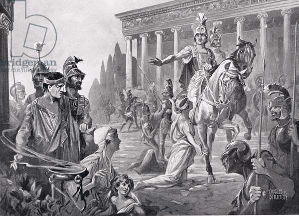 Alexander at the Sack of Thebes in 335 BC, illustration from 'Hutchinson's History of the Nations', 1915 (litho)
