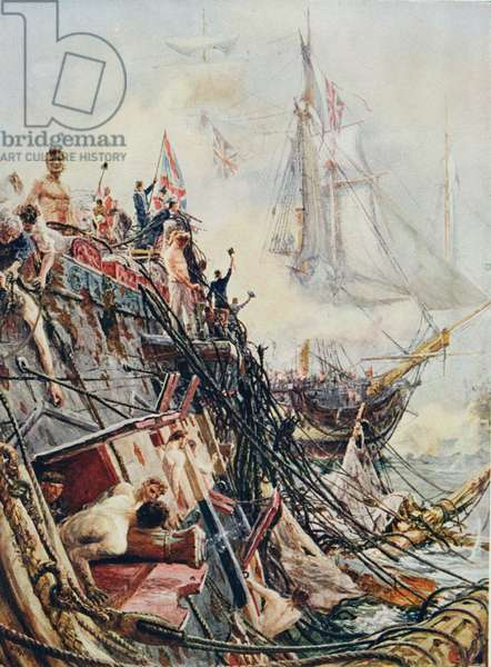 Crippled but unconquered: The 'Belleisle' at the Battle of Trafalgar, 21st October 1805, from 'British Battles on Land and Sea' edited by Sir Evelyn Wood (1838-1919) first published 1915 (colour litho)