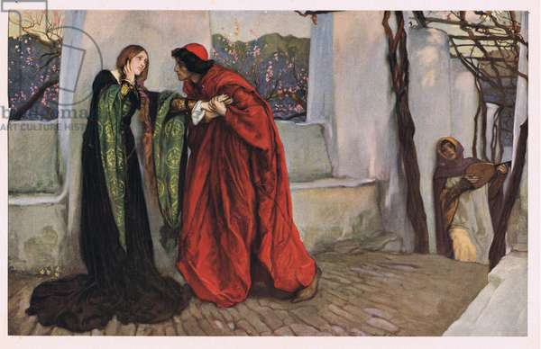 'O, Mistress mine where are you roaming?', from 'Twelfth Night' by William Shakespeare (colour litho)