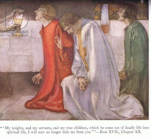 """""""My knights, and my servants and my true children, which become out of my deadly life into spiritual life"""", from Le Morte D'Arthur published by Medici Society Ltd 1929 (colour litho)"""