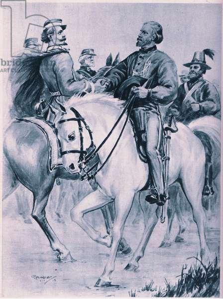 Gerabaldi welcomes Victor Emmanuel (litho)