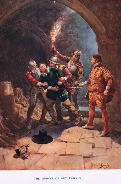 The arrest of Guy Fawkes, illustration from 'Madame Tussauds' (colour litho)
