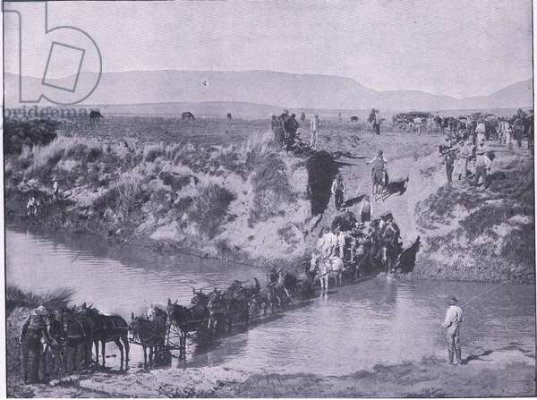 De Wet crossing the Orange River, After Pretoria: The Guerilla War published by Harmsworth Bros Limited 1901