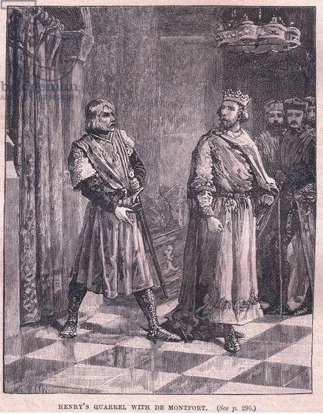 Henry's quarrel with De Montford (litho)