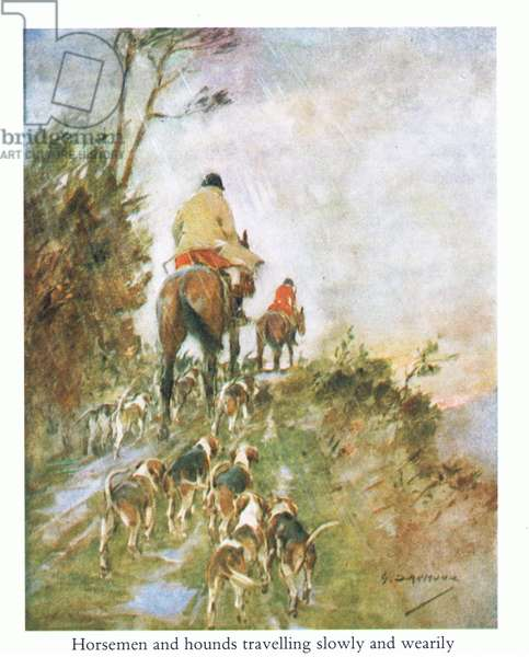Horseman and hounds travelling slowly and wearily home (colour litho)