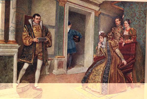 'But thou, thou meagre lead', illustration from 'The Merchant of Venice' (colour litho)