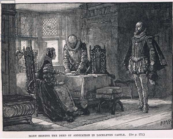Mary signing the deed of abdication in Lochleven Castle 1568