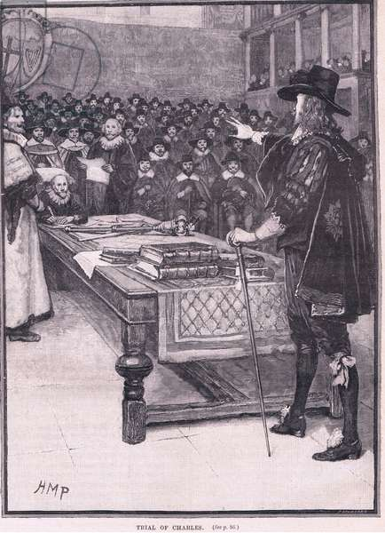 Trial of Charles I AD 1649 (litho)