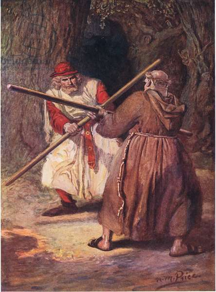 He yielded before the steady strokes of Friar Tuck, illustration from 'The Children's Tennyson: Stories in Prose and Verse from Alfred Lord Tennyson' by May Byron, 1910 (colour litho)