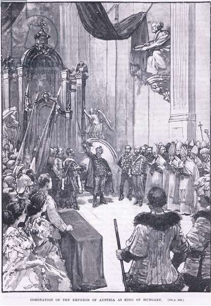 Coronation of the Emperor of Austria as king of Hugary 1868 AD (litho)