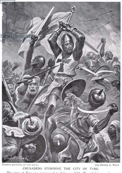 Crusaders Storming the City of the Tyre, illustration from 'Hutchinson's History of the Nations' (litho)