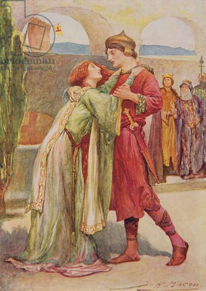 "Posthumus and Imogen in ""Cymbeline"" from 'Children's Stories from Shakespeare' by Edith Nesbit (1858-1924) pub. by Raphael Tuck & Sons Ltd., London (book illustration)"