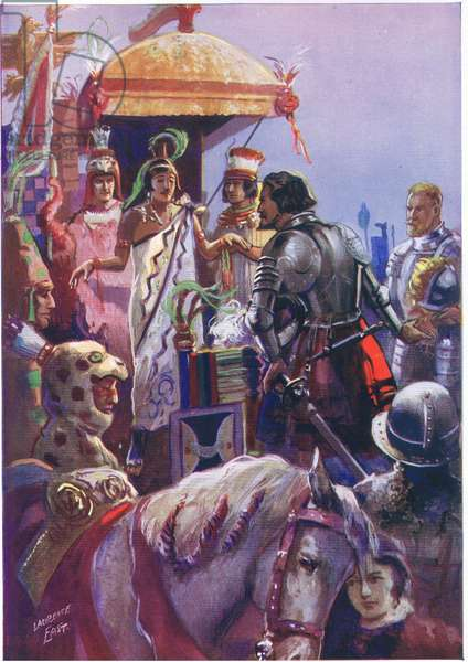 Conquerors from the old world come to Mexico (colour litho)