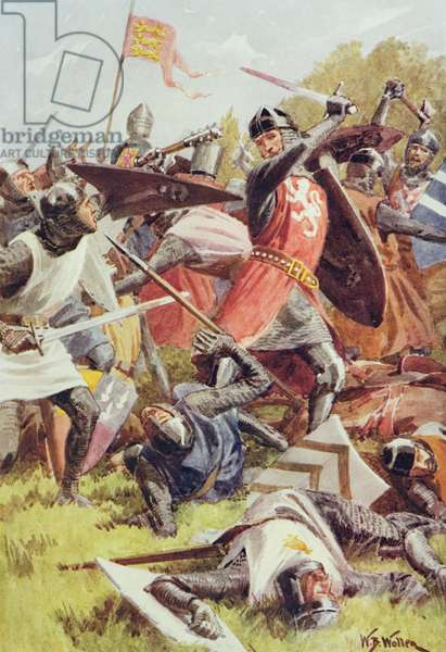 The Battle of Evesham on 4th August 1265, from 'British Battles on Land and Sea' edited by Sir Evelyn Wood (1838-1919) first published 1915 (colour litho)