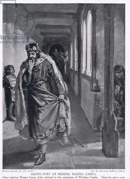 Johns fury at the signing of Magna Carta AD1215, 1920's (litho)